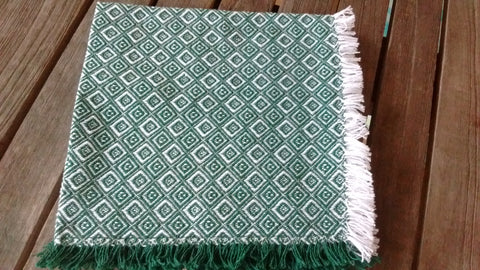 Homespun Evergreen and White Diamond Check Napkins 18 Inches Square Made in USA