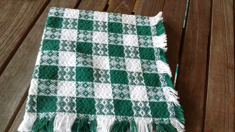 Homespun Green and White Tavern Check Napkins 18 Inch Square Made in USA