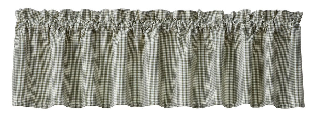 Park  Mason Jar Unlined Valance Green Gingham Check Window 72 x 14 Inches Country Farmhouse - Olde Church Emporium