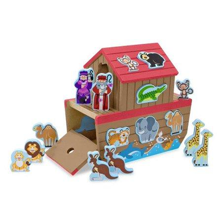 Melissa & Doug - Noah's Ark Shape Sorter Wooden 26 Animal Blocks Noah and Wife