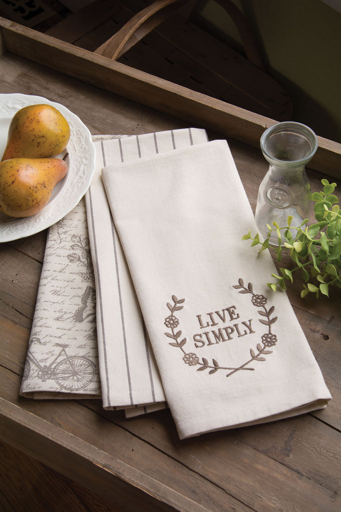 Heritage Lace - Nature's Script Collection - Apron and Tea Towels in Cream Color - Olde Church Emporium