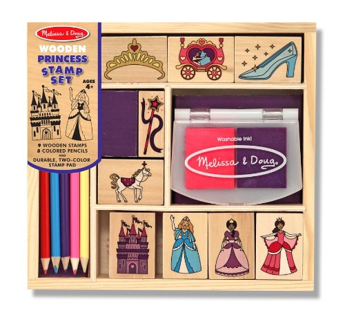 Melissa and Doug - Princess Stamp Set  Includes: 9 stamps, 2-color inkpad, 5 colored pencils [Home Decor]- Olde Church Emporium