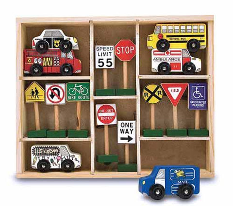 Melissa and Doug Wooden Vehicles & Traffic Signs 16 Wooden Pieces