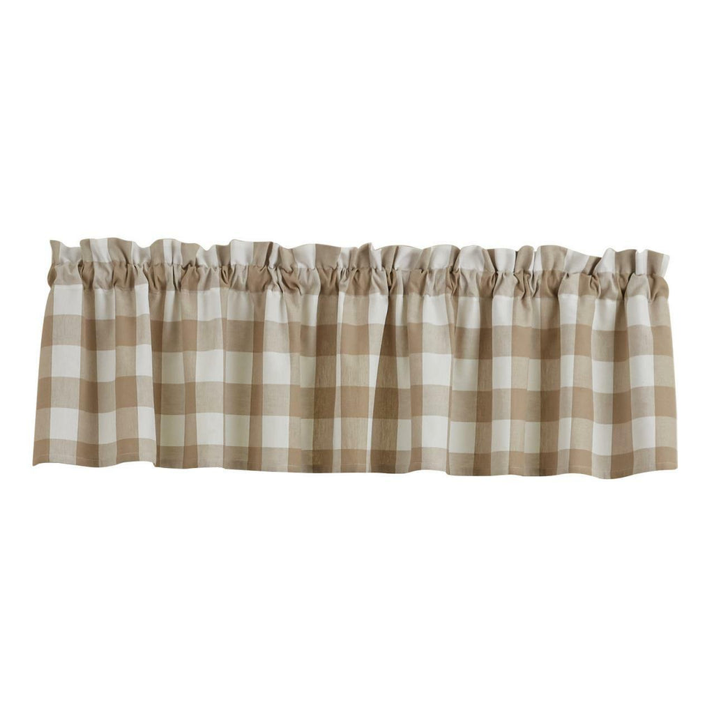 Park Wicklow Check Valance Natural Unlined 72 x 14 Inches