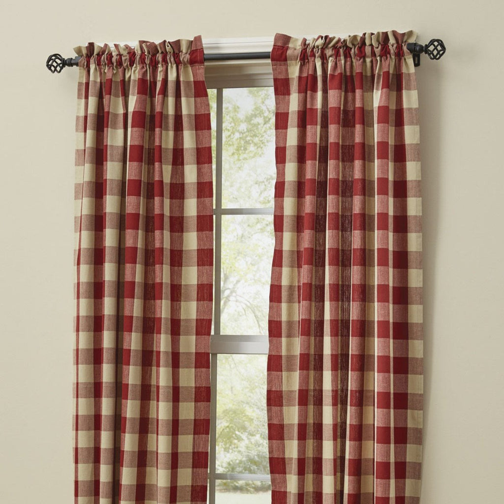 Park Designs - Wicklow Check Panels Pair  Garnet - 72 x 63 Inches Unlined Farmhouse Country - Olde Church Emporium