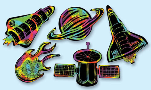 Scratch Art® Classroom Packs - Scratch Art Outer Space Scratchin' Shapes Group Pack