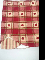 Park Designs Apple Cobbler Embroidered Plaid Double Scalloped Stripe Valance 60 x 15 inches