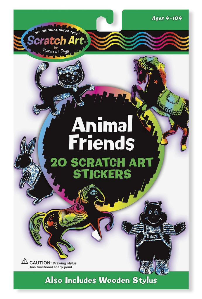 Melissa & Doug Scratch Art Sticker Kit Animal Friends, 20 Color-Reveal Stickers Ages 5 to 95 - Olde Church Emporium