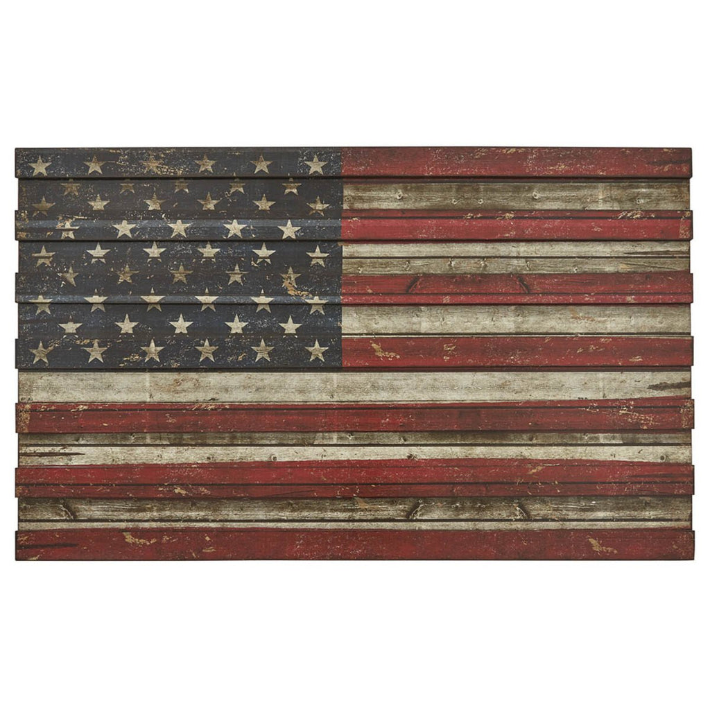American Flag Wood Wall Art 22 Inches H x 36 Inches Long x  .75 Inches D - Olde Church Emporium