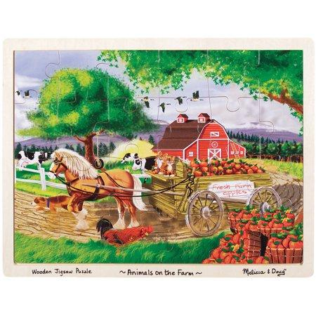 Melissa & Doug Animals on the Farm Wooden Jigsaw Puzzle With Storage Tray (24 pcs) Ages 3+
