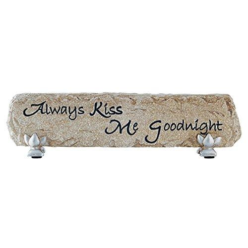"""Always Kiss Me Goodnight"" Heartnotes Stone Bar Desktop Sign - Olde Church Emporium"
