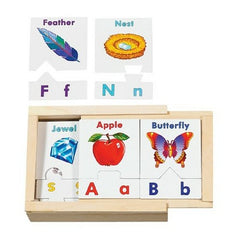 Melissa & Doug - Learn the Alphabet Puzzle Cards With Wooden Storage Box (52 pieces) [Home Decor]- Olde Church Emporium