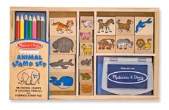 Melissa & Doug - Wooden Stamp Set: Animals - 16 Stamps, 7 Colored Pencils, Stamp Pad [Home Decor]- Olde Church Emporium