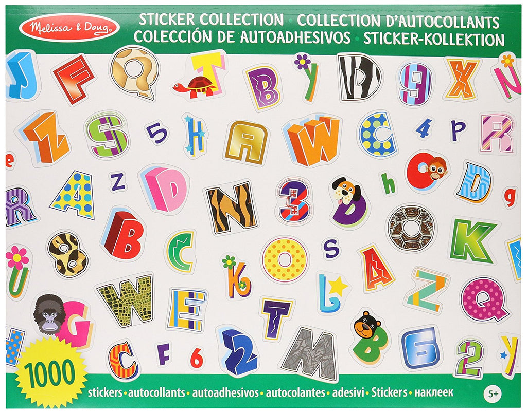 Melissa & Doug - Sticker Collection Alphabet and Numbers, 1000 Letter and Number Stickers [Home Decor]- Olde Church Emporium