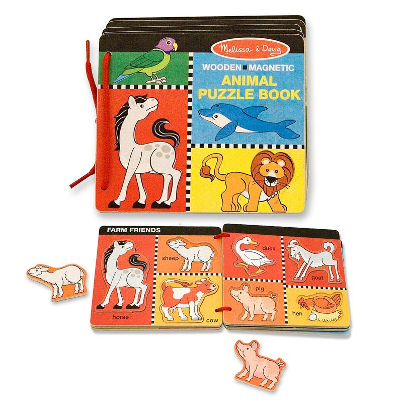 Melissa and Doug Wooden Magnetic Learning Animal Puzzle Book 28 Pieces Ages 2+