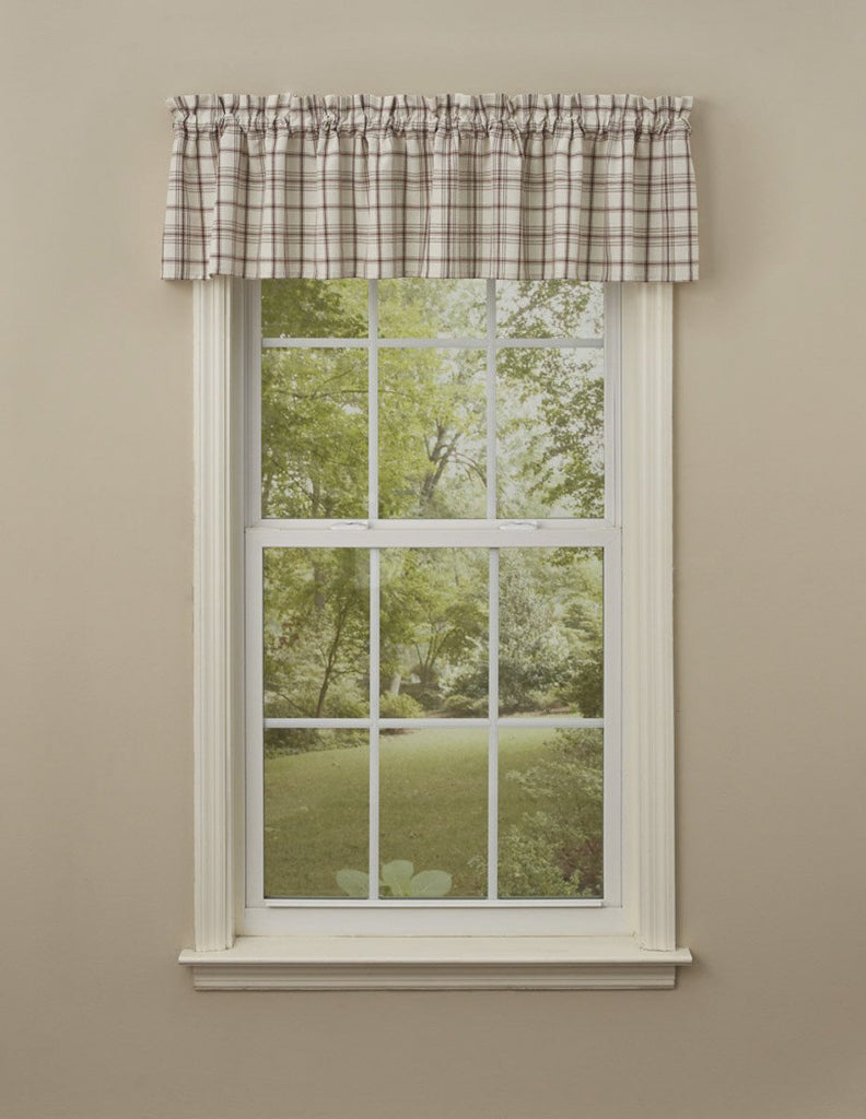 Park Design Apple Orchard Unlined Window Valance 72x14 Inches Ivory, Dark Red, Green, Tan Plaid