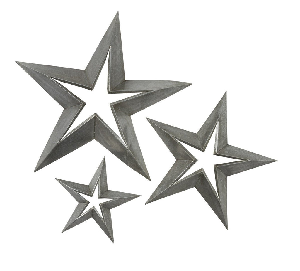 Antique Tin Star Set 3 Stars 23 Inch, 18 Inch, 11 inch - Olde Church Emporium