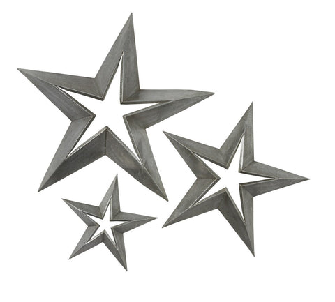 Antique Tin Star Set 3 Stars 23 Inch, 18 Inch, 11 inch