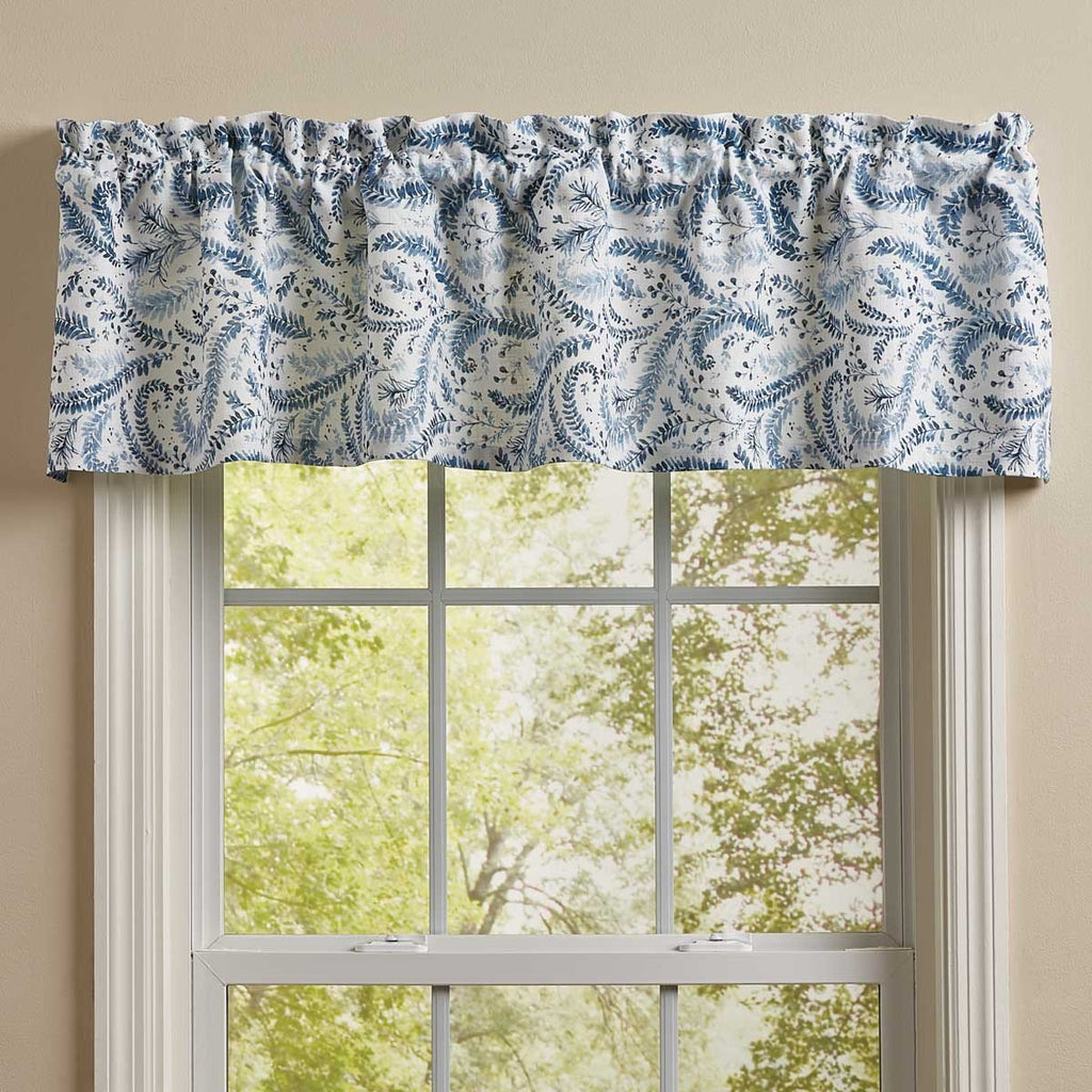 "Ashley China Blue White Floral Cotton Country Cottage Unlined Window Valance 60"" x 14"" Inches - Olde Church Emporium"