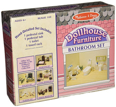 Melissa & Doug - Classic Wooden Dollhouse Bathroom Furniture (4 pieces) Tub, Sink, Toilet, Towel Rack [Home Decor]- Olde Church Emporium