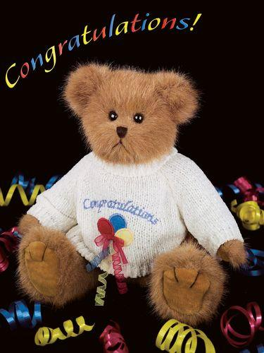 Bearington Bear Beary Best Wishes Plush 10 inch Congratulations Bear Toy Collectible Retired