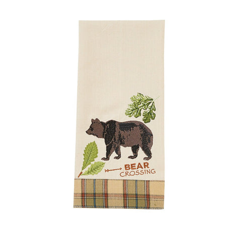 Park Design Sequoia Embroidered Decorative Bear Dishtowel 18 x 28 Inches Farmhouse, Country