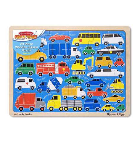 Melissa & Doug 24 Piece Beep Beep Cars and Trucks Wooden Jigsaw Puzzle With Storage Tray