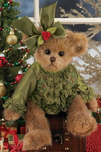 "Bearington - Christmas Bear ""Bella Beary"" - 14 Inches and Retired - Olde Church Emporium"