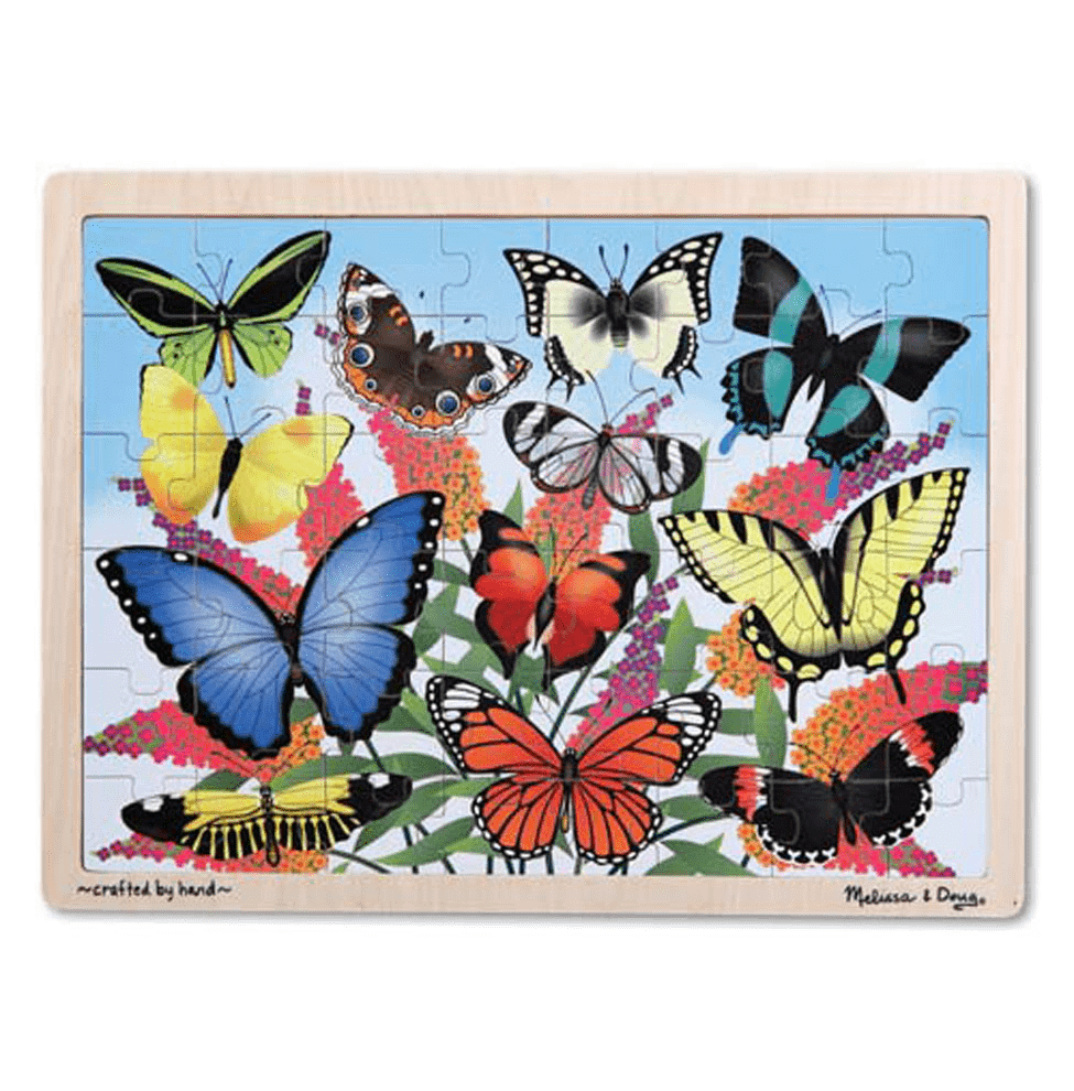 Melissa & Doug Butterfly Garden Wooden Jigsaw Puzzle 48 Pieces Wooden Case Ages 4+ - Olde Church Emporium