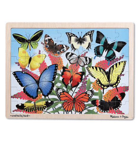 Melissa & Doug Butterfly Garden Wooden Jigsaw Puzzle 48 Pieces Wooden Case Ages 4+