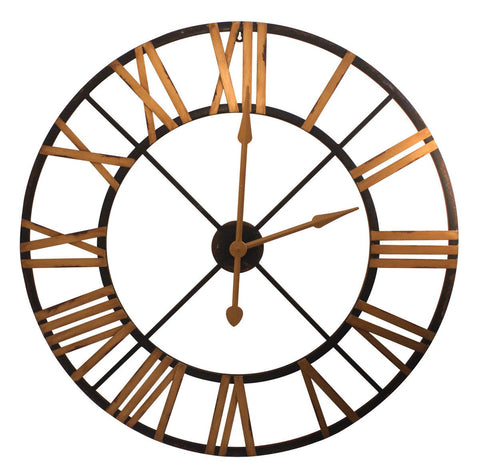 Black and Gold Metal Clock 36 Inches Diameter