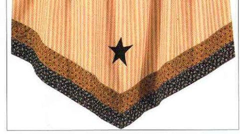 Park Designs - Black Star Single Point Valances, Tiers Pair 24 inches and 36 Inches Sizes