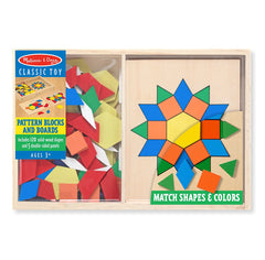 Melissa & Doug - Pattern Blocks and Boards - Classic Toy With 120 Solid Wood Shapes and 5 Double-Sided Panels [Home Decor]- Olde Church Emporium
