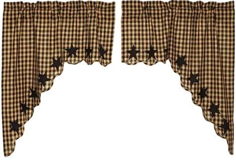 Black Star curtain collection Scalloped Swags - Olde Church Emporium