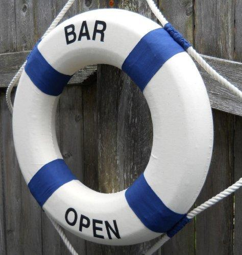 "Bar Open Life Ring Preserver 17"" Diameter Decorative Nautical Ring - Olde Church Emporium"