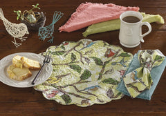 Park Designs Bird Song Round Quilted Placemat 17 Inches - Olde Church Emporium