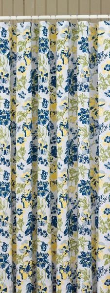 Park Designs Shower Curtain Buttercup 72 x 72 Inches  Bathroom Blue Yellow Free Shipping