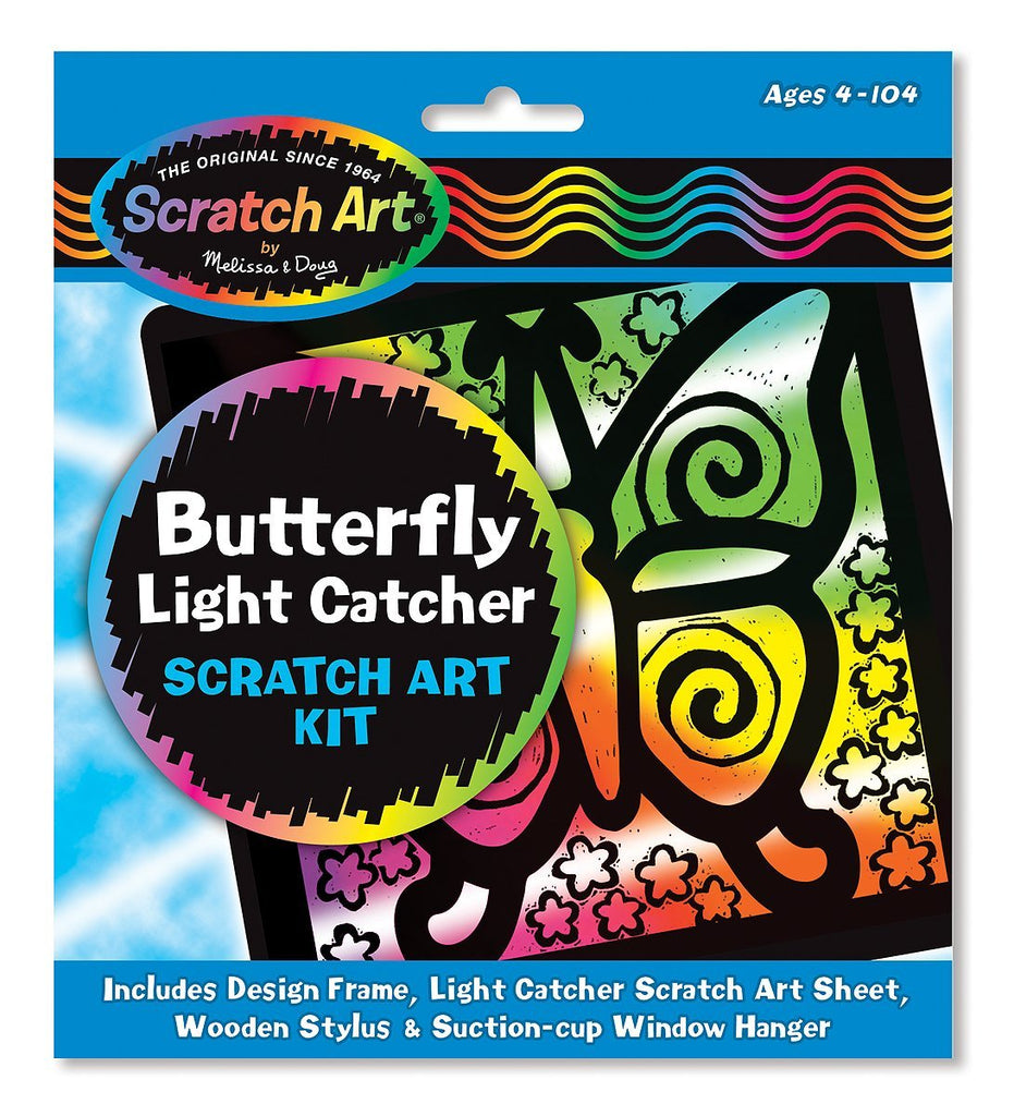 Melissa & Doug Butterfly Light Catcher Scratch Art Kit Ages 5 to 95 [Home Decor]- Olde Church Emporium