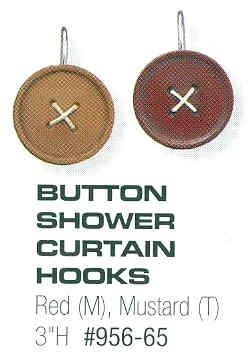 Park Designs - Button Shower Curtain Hooks Boxed Set 12 Red or Mustard Colored