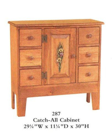 Amish Made Catch All Cabinet - Stained and Painted - Made in USA