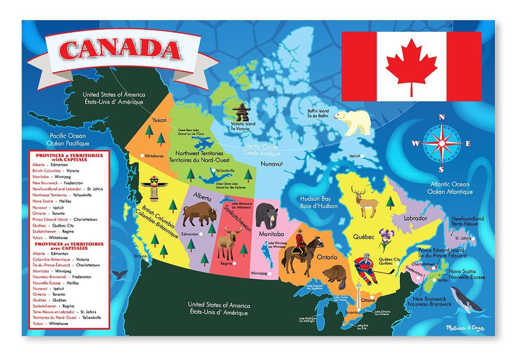 Melissa & Doug - Canada Map Jumbo Jigsaw Floor Puzzle (48 pcs, 2 x 3 feet) [Home Decor]- Olde Church Emporium