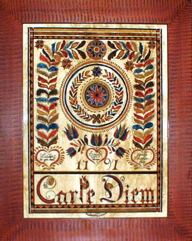 Fractur -Carpe Diem (Seize the Day), American Folk Art, Collectible, Affordable Art