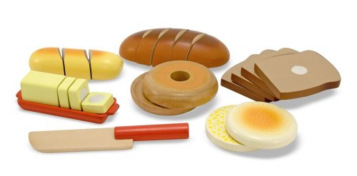 Melissa & Doug - Wooden Mix and Match Pretend Play Cutting Bread Set [Home Decor]- Olde Church Emporium