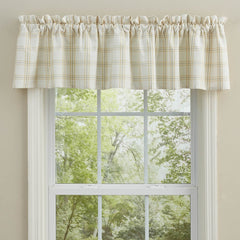 Park Designs Cocoa Butter, Taupe, Ivory Plaid Lined/Unlined Window Valances - 72 x 14/16 Inches