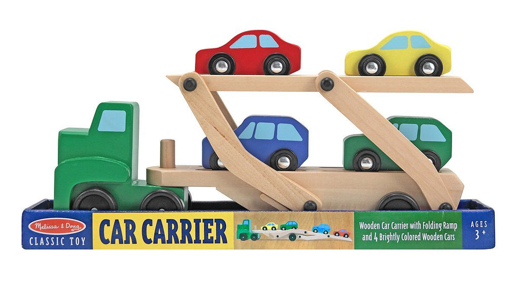 Melissa & Doug - Car Carrier Truck and Cars Wooden Toy Set With 1 Truck and 4 Cars [Home Decor]- Olde Church Emporium