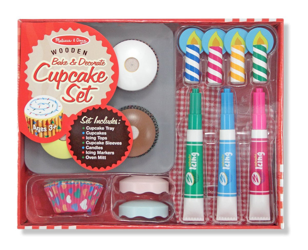 Melissa & Doug - Bake and Decorate Wooden Cupcake Pretend Play Food Set [Home Decor]- Olde Church Emporium