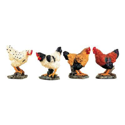 Set of 4 Farm Animal Chickens Hens 4 Inch Tabletop Shelf Figurines Decor