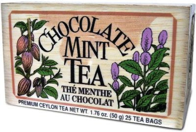 Chocolate Mint Tea bags - 25 in Wooden Box [Home Decor]- Olde Church Emporium