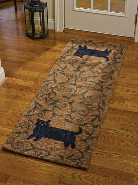 Park Designs Cat Hooked Rug Runner 24 Inches x 72 Inches