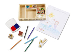 Melissa & Doug Wooden Melissa and Doug - Classroom Stamp Set With 10 Stamps, 5 Colored Pencils, 4 Sticker Sheets, and 2-Colored Stamp Pad [Home Decor]- Olde Church Emporium
